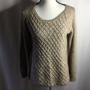 ONE WORLD Brown Sweater Pullover Two-Tone Size PL